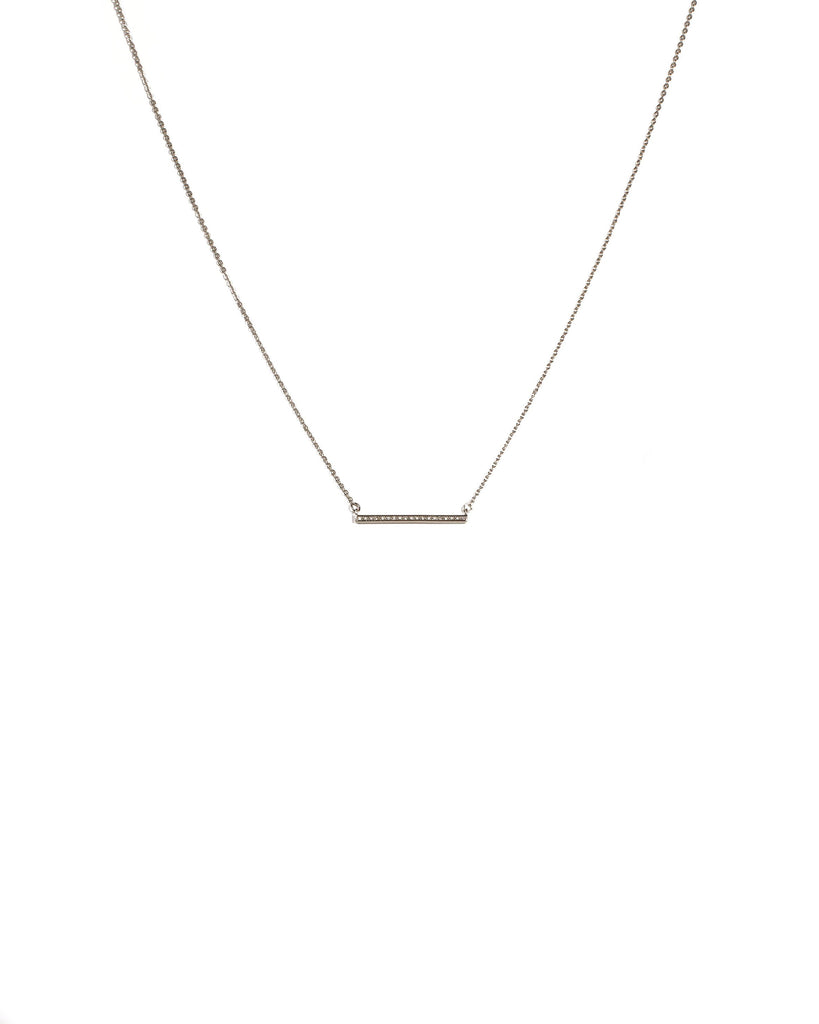 Cubic Zirconia White Gold Plated Encrusted Fine Bar Necklace
