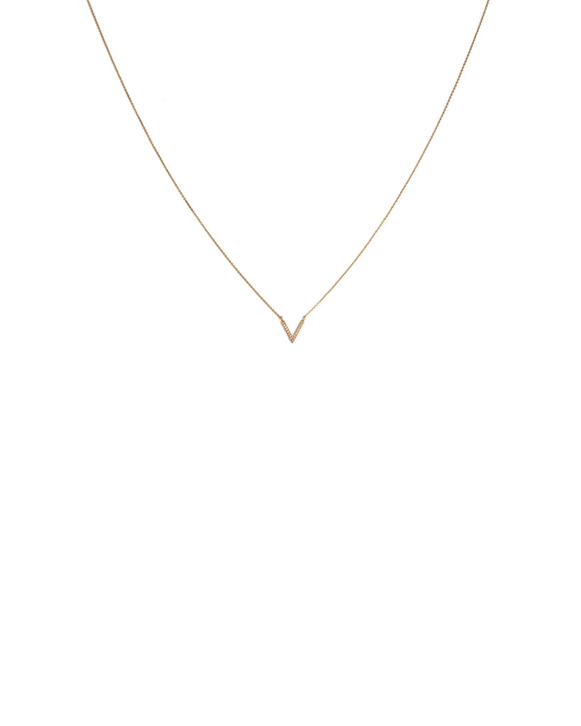 Cubic Zirconia Gold Plated Encrusted V Fine Necklace