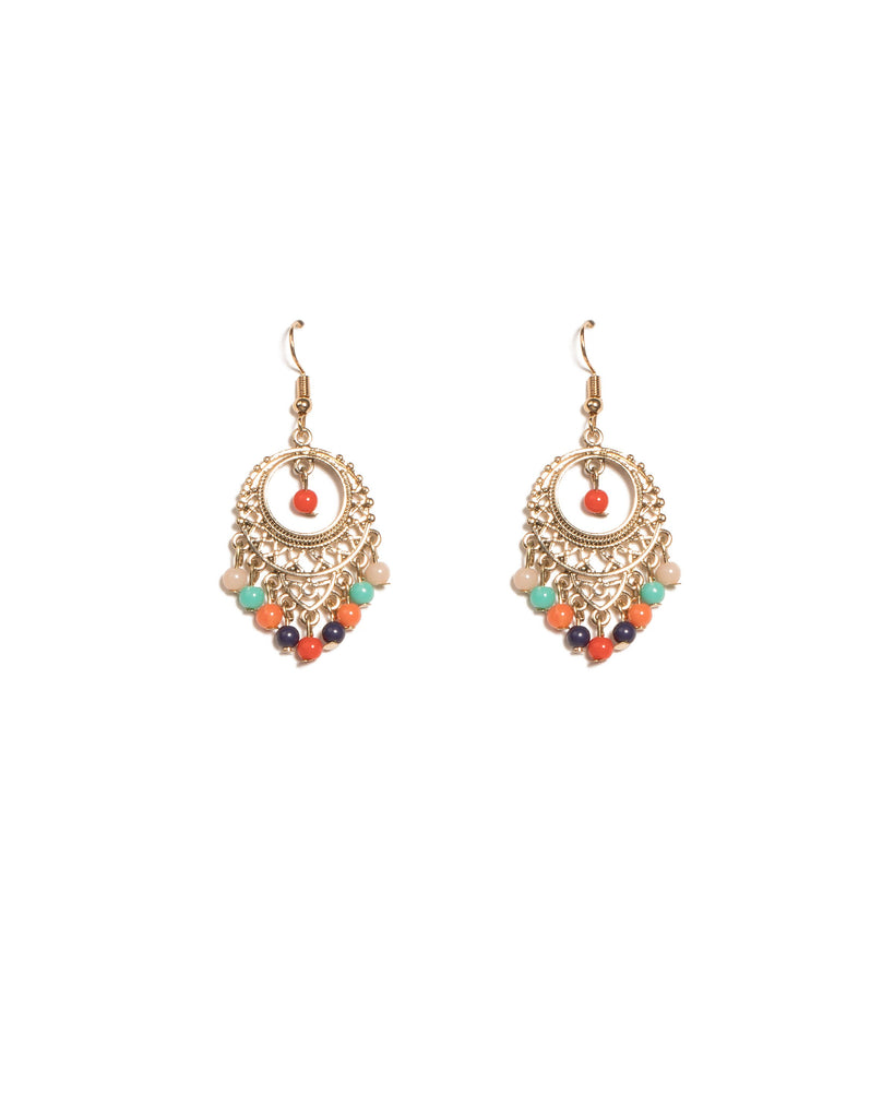 Multi Colour Gold Tone Mini Filigree Beaded Earrings