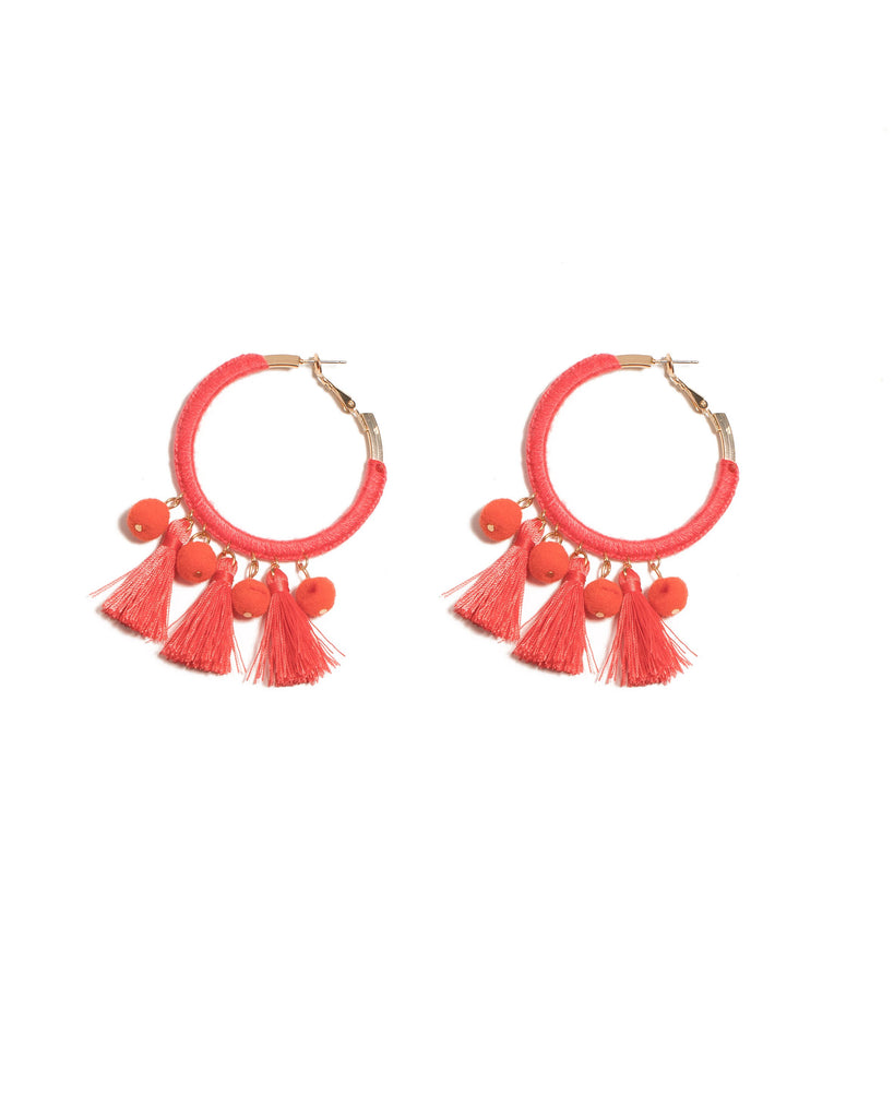 Coral Gold Tone Pom-Pom And Tassel Hoop Earrings