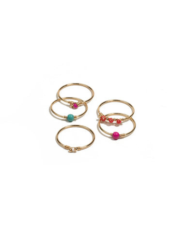 Multi Colour Gold Tone Beaded Fine Ring Pack - Small
