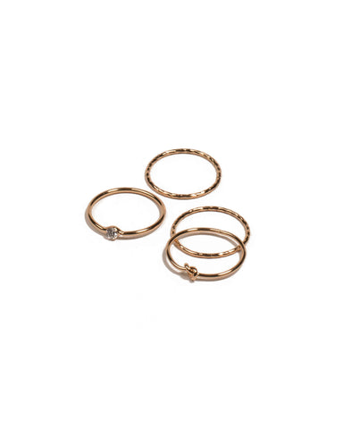 Cubic Zirconia Gold Plated Fine Knot Ring Pack - Medium