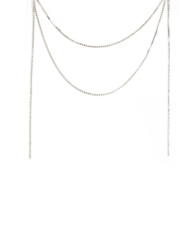 Crystal Silver Tone Crystal Drape Necklace