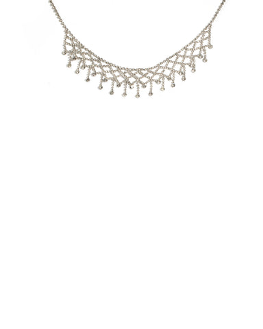 Crystal Silver Tone Diamond Crystal Choker Necklace