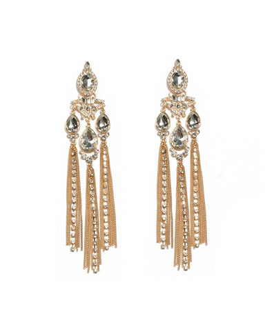 Crystal Gold Tone Multi Large Stone Drop Earrings
