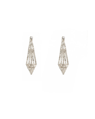 Crystal Silver Tone Crystal Drop Diamond Earrings