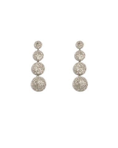 Crystal Silver Tone Pave Multi Disc Drop Earrings