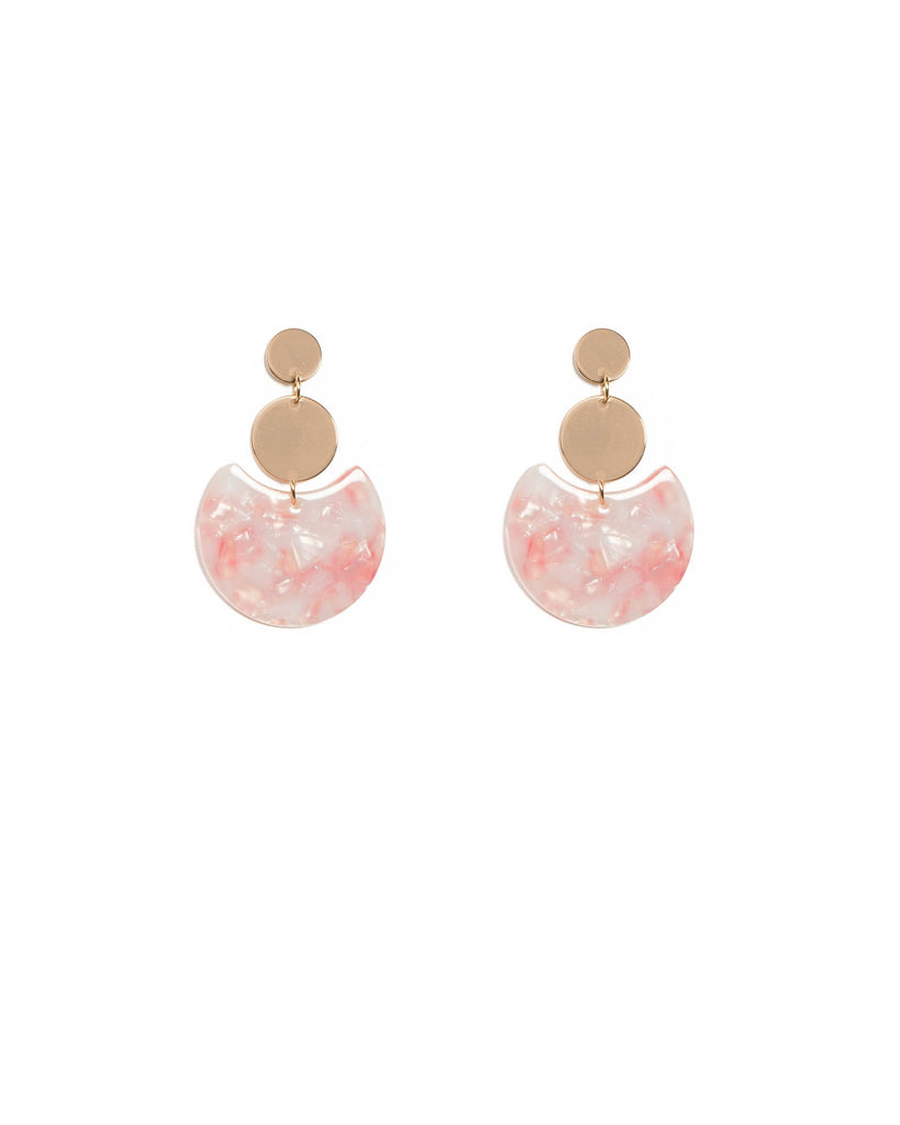 Pink Gold Tone Acrylic Disk Statement Earrings