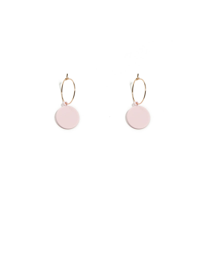 Pink Gold Tone Drop Metal Disk On Hoop Earrings