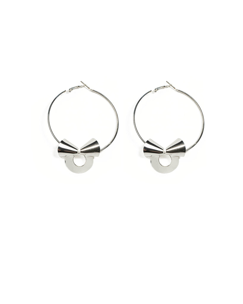 Silver Tone Twisting Metal Hoop Earrings