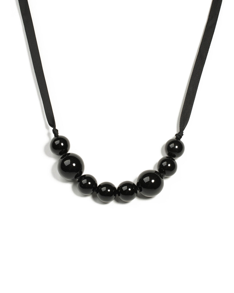 Black Enamel Baall Beaded Ribbon Necklace