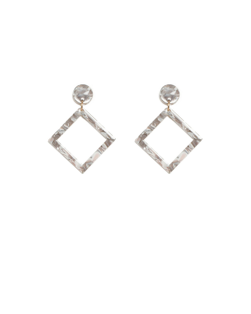Grey Gold Tone Acrylic Square Drop Earrings