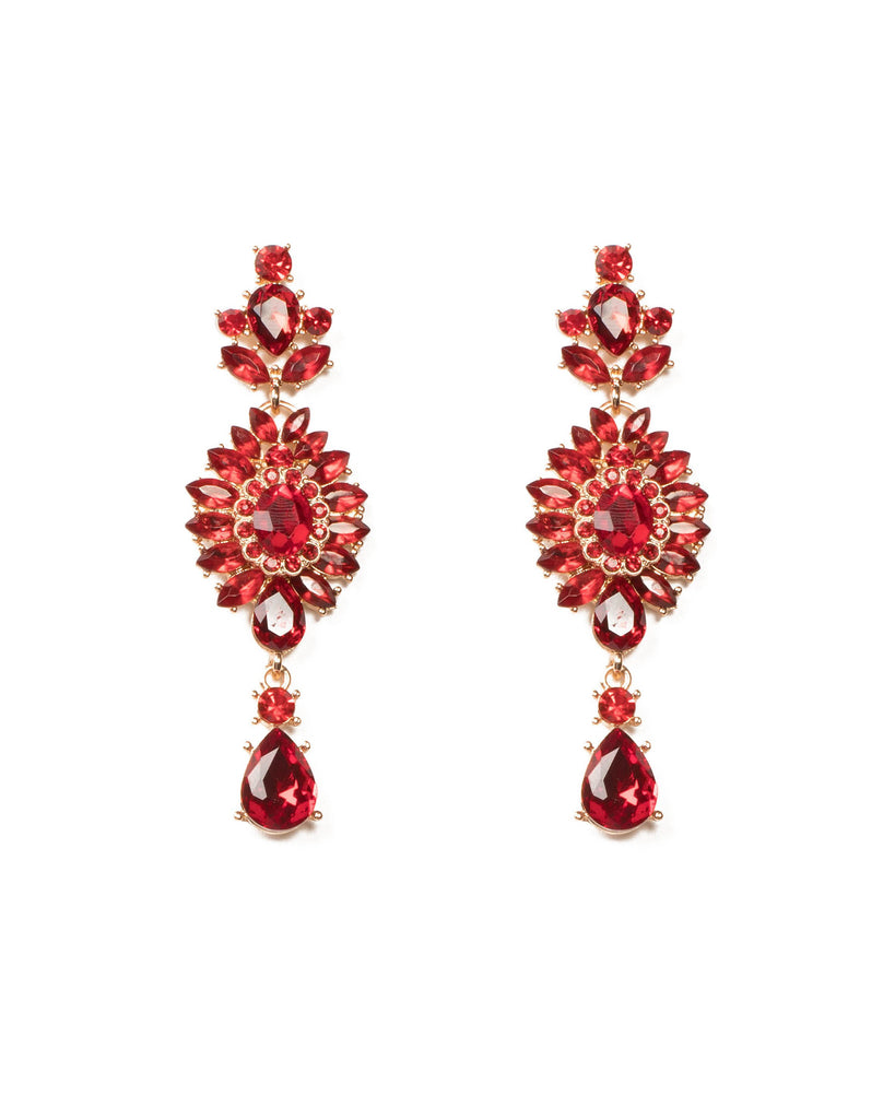 Red Gold Tone Crystal Encrusted Earrings