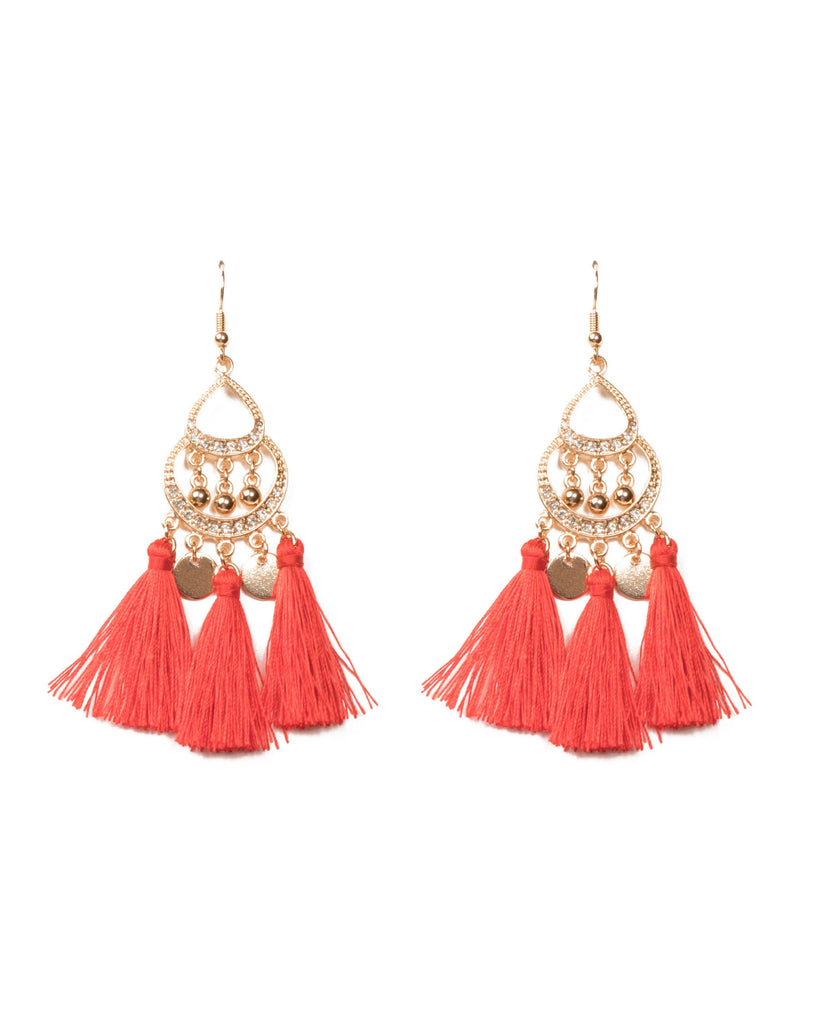 Red Gold Tone Teardrop Tassel Pave Earrings