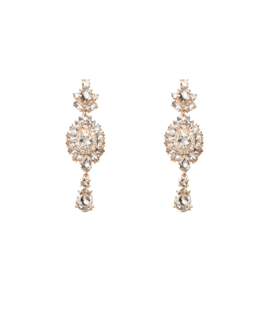 Crystal Gold Tone Crystal Encrusted Earrings