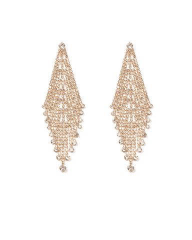 Crystal Gold Tone Crystal Drop Statement Earrings
