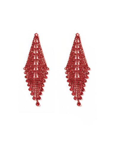 Red Gold Tone Crystal Drop Statement Earrings