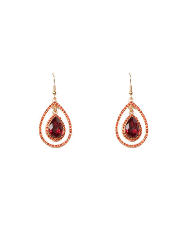 Red Gold Tone Teardrop Pave Crystal Earrings