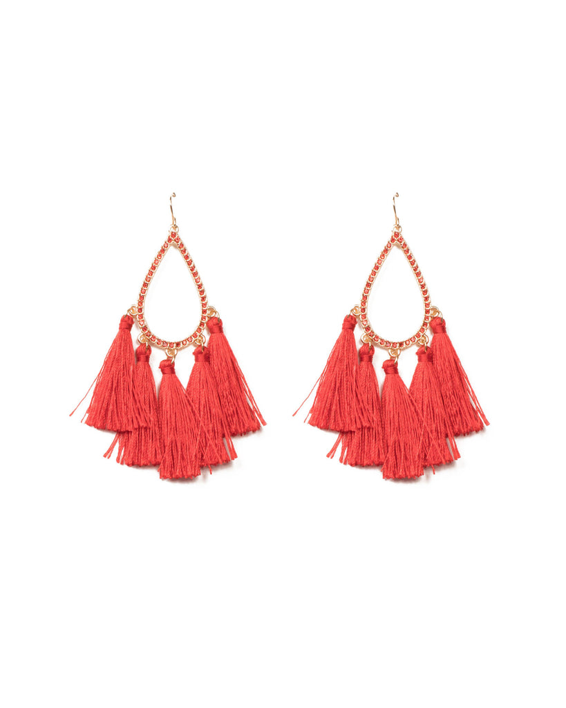 Red Gold Tone Teardrop Tassel Statement Earrings