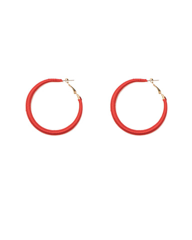 Red Gold Tone Thread Wrapped Hoop Earrings