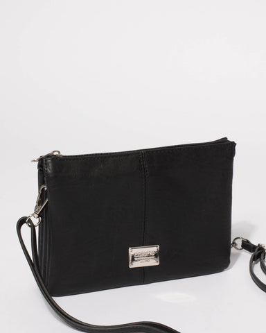Black Smooth Triple Pocket Crossbody Bag With Silver Hardware
