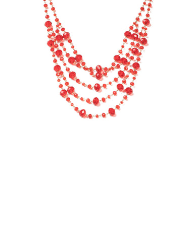 Red Gold Tone Faceted Bead Multi Row Necklace