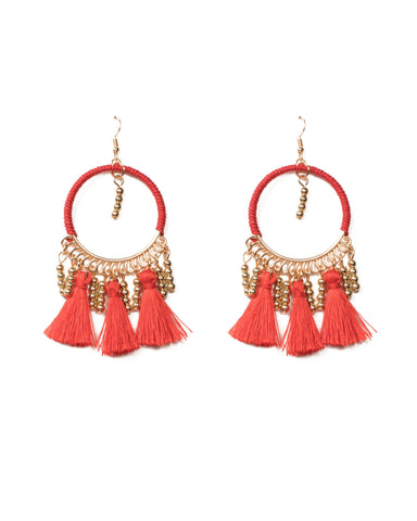 Red Gold Tone Wrapped Hoop With Tassel Statement Earrings