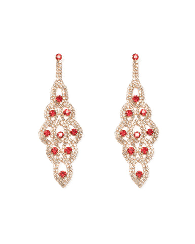 Red Gold Tone Pattern Diamante Drop Statement Earrings