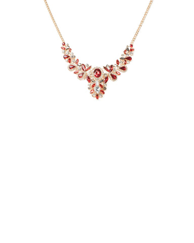 Red Gold Tone Multi Stone Statement Necklace