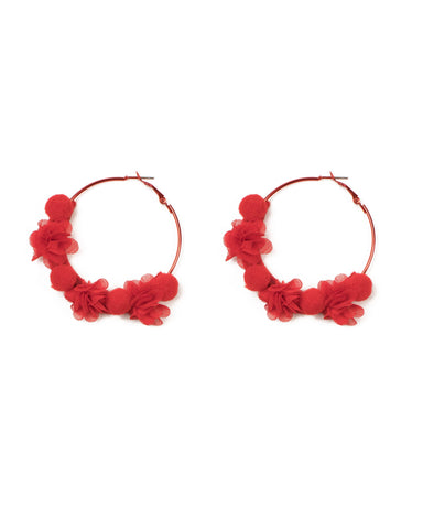 Red Silver Tone Pom Pom Chiffon Texture Statement Earrings