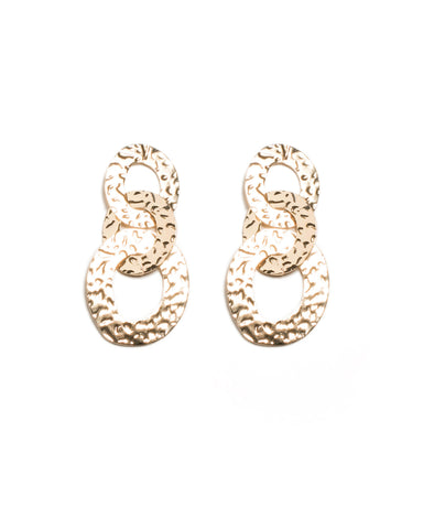Gold Tone Statement Hammered Link Ring Earrings