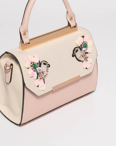 Pink Ivory Renee Bird Top Handle Tote Bag