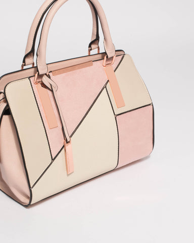 Pink Ivory Kimberly Panel Tote Bag