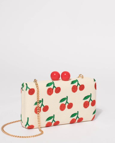 Natural With Red Cherry Hardcase Clutch Bag
