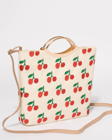 Natural Jessie Cherry Clutch Bag