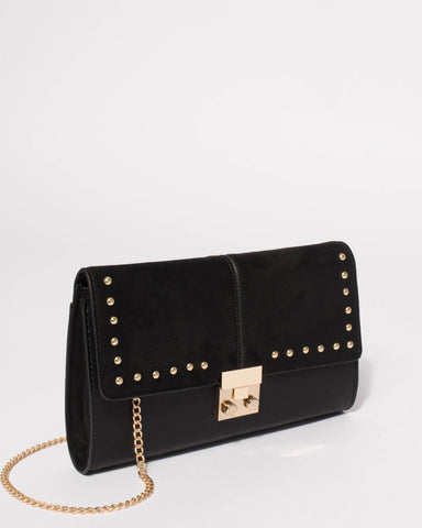 Black Quinn Stud Clutch Bag
