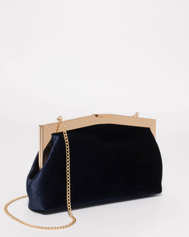 Navy Pascal Velvet Clutch Bag