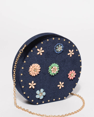 Navy Floral Circle Case Clutch Bag