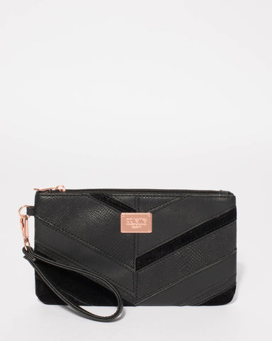 Black Textured Brook Panel Wristlet With Rose Gold Hardware
