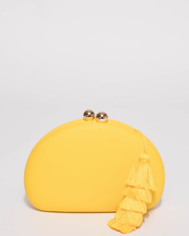 Yellow Jade Hardcase Tassel Clutch Bag