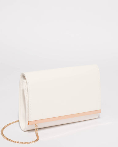 White Becca Metal Edge Clutch Bag