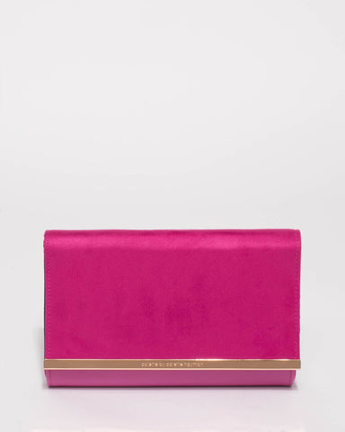 Magenta Becca Metal Edge Clutch Bag
