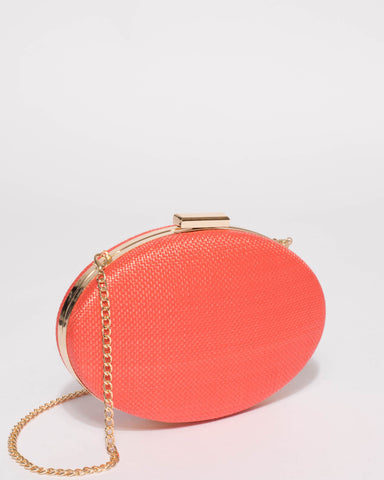 Coral Oval Hardcase Clutch Bag