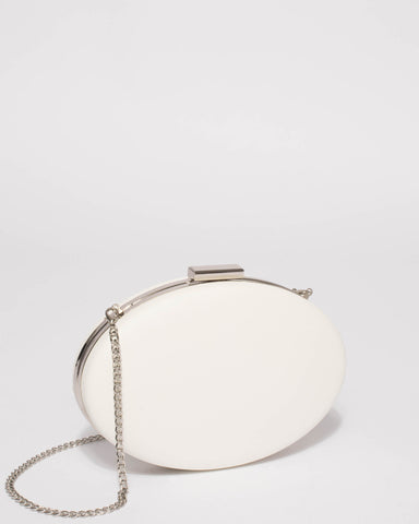 White Oval Hardcase Clutch Bag