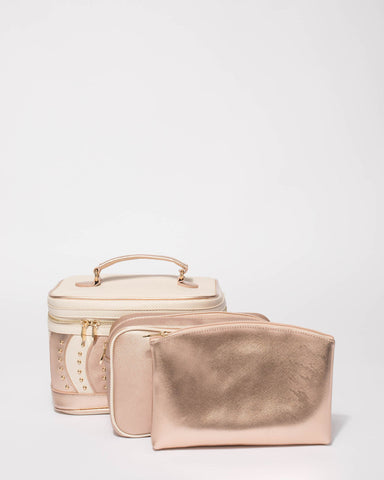Rose Gold And Ivory Swirl Cosmetic Case