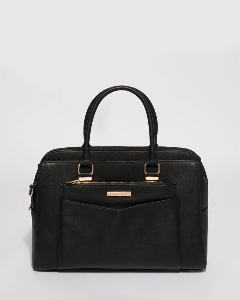 Black Taylor Pocket Tote Bag