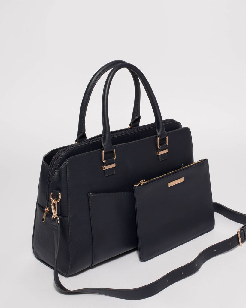 Navy Taylor Pocket Tote Bag