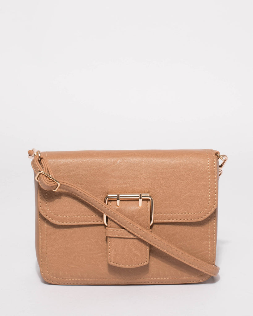 Caramel Avery Buckle Crossbody Bag