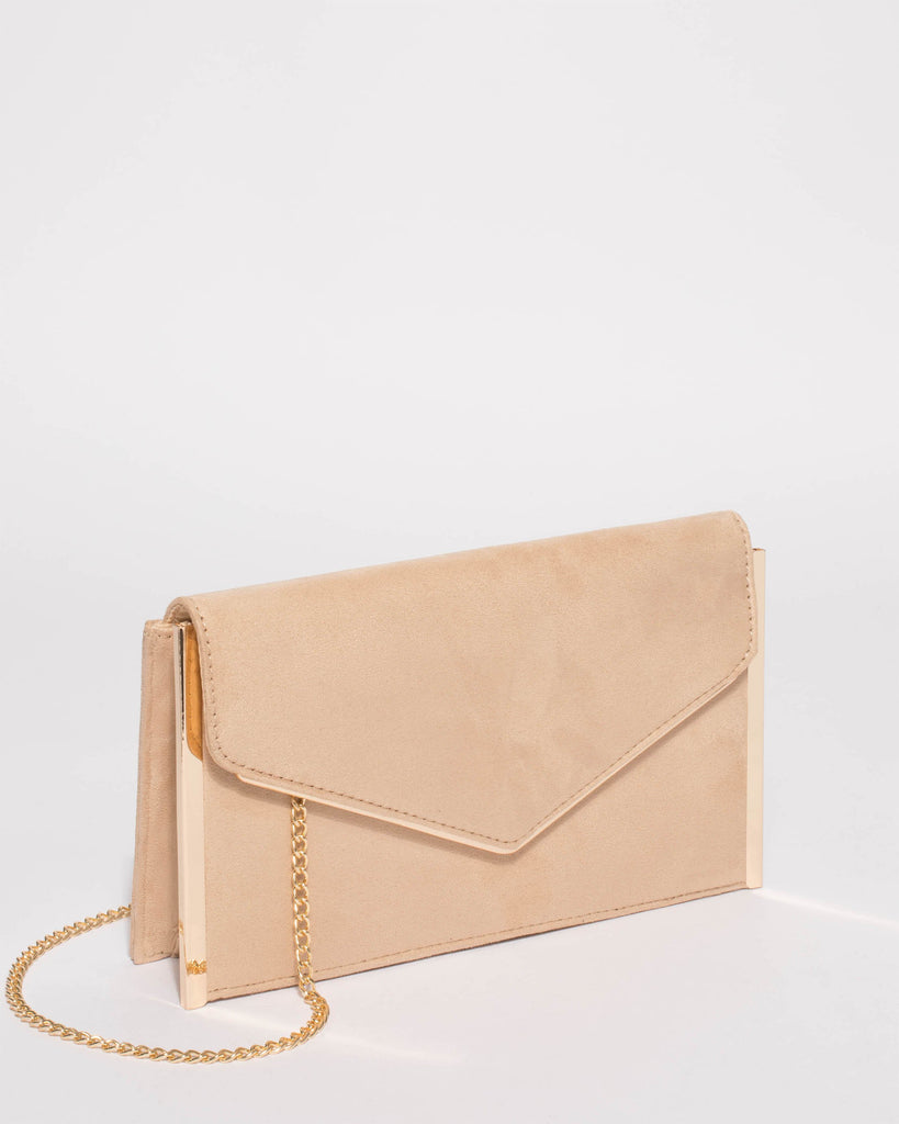 Nude Mila Large Evening Clutch Bag