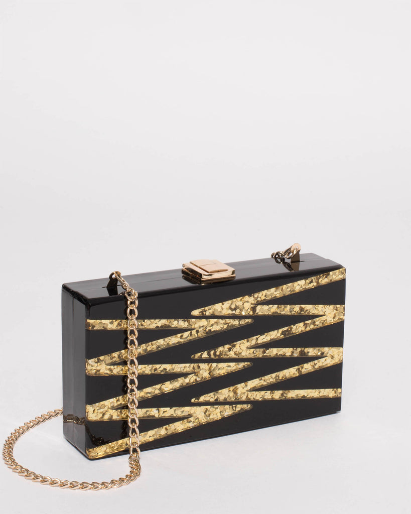 Black And Gold Mia Zig-Zag Hardcase Clutch Bag